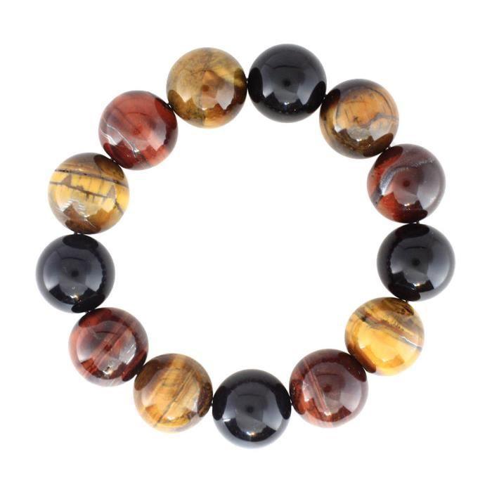 Bracelet pierre Bijou gemme naturel 16mm Homme Multicolore Tricolore Perle wz-B0428