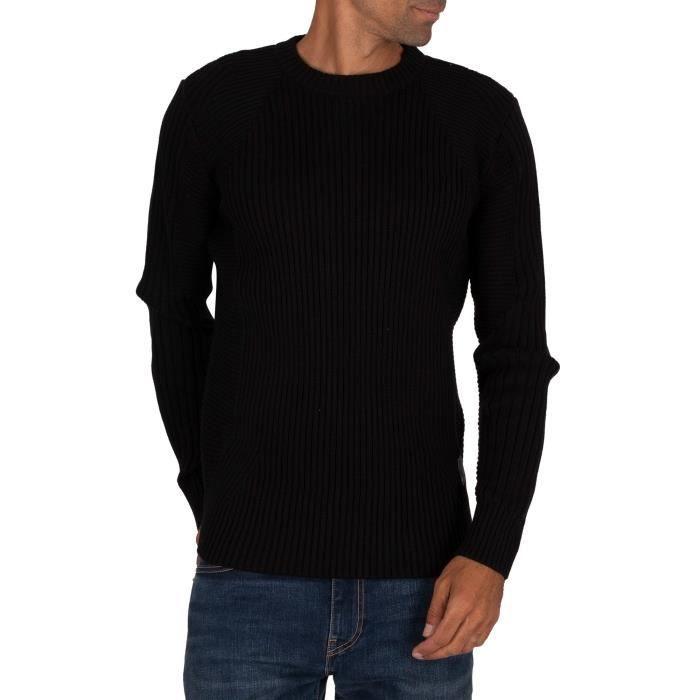 G-Star Pull tricot de motard 3D, Noir, Homme