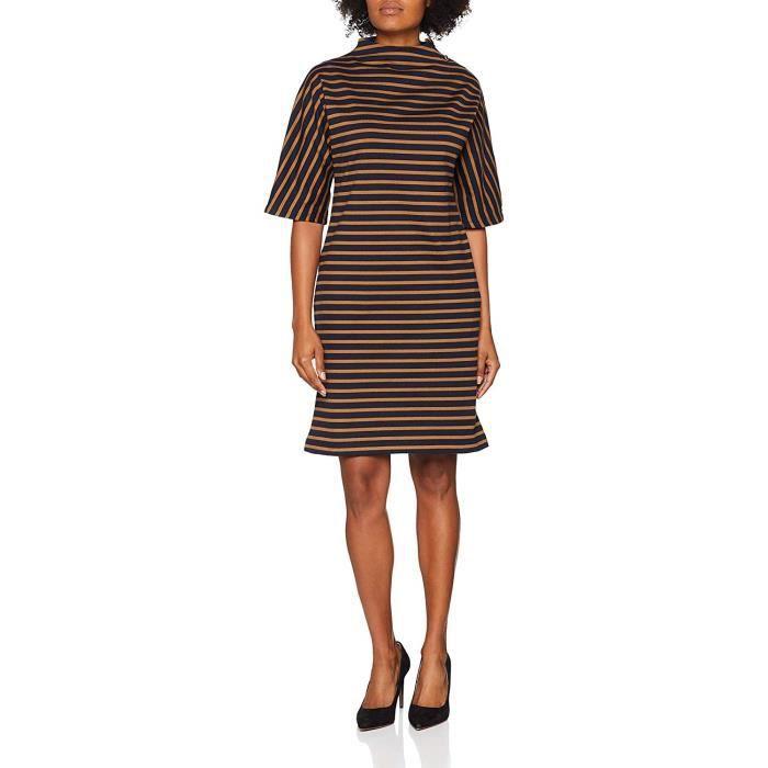 Petit Bateau Robes MC, Multicolore (Smoking/Brindille 01), Large (Taille Fabricant: 3 (L)) Femme - 4443901240-01