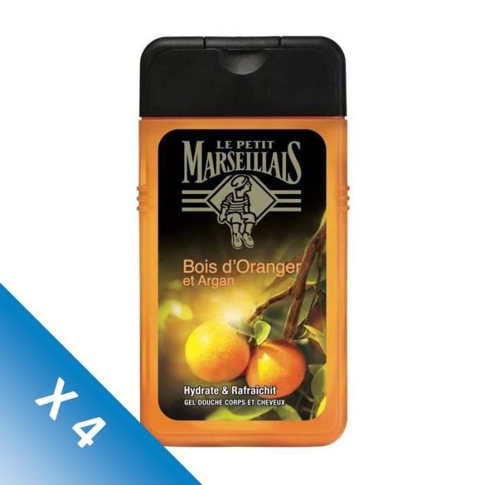 [LOT DE 4] LE PETIT MARSEILLAIS Gel Douche Homme Corps et cheveux Orange Argan - 250ml