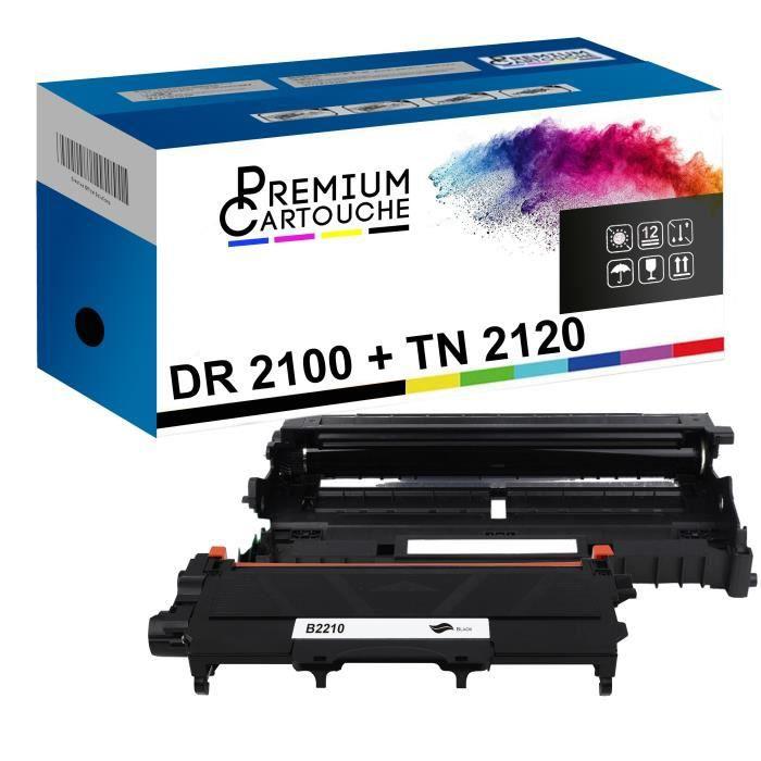 Tambour + Toner DR-2100 et TN2120 Compatible pour Brother HL-2140-2150-2150N-2170-2170W, DCP-7030-7040-7045N, MFC-7320-7340-7345N-73