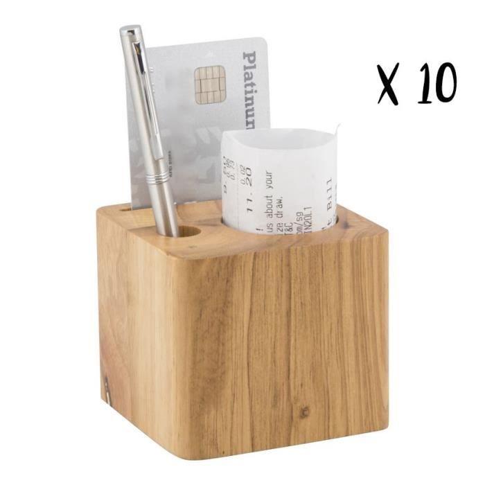Lot de 10 porte-additions en bois modèle Cube (stylo inclus) - MC-BPBLOCK-TE-10 7x8x7cm Marron