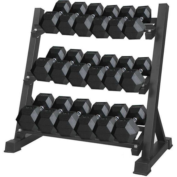 SINBIDE Support pour Haltères - Rack de Rangement Pour Haltères - 3 niveaux standard - 91x51x90cm - MAX.400KG