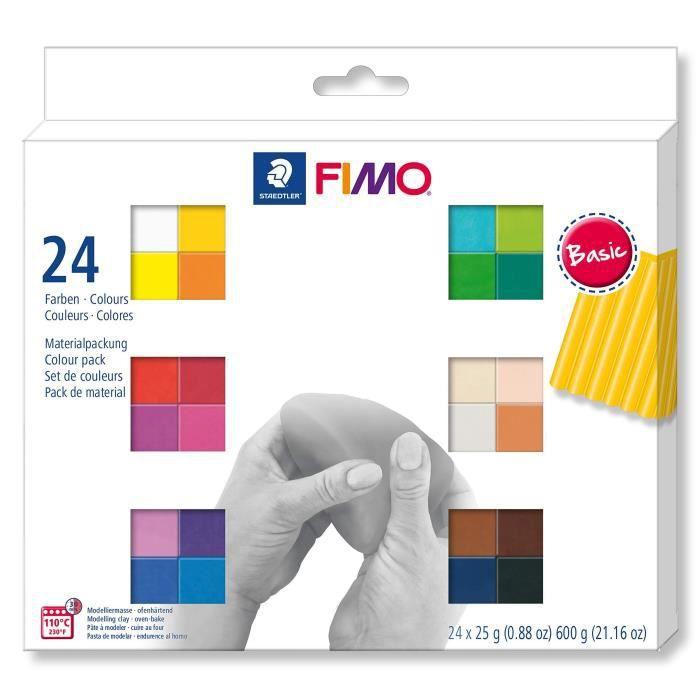 Staedtler FIMO Soft, Assortiment de 24 demi-pains de pâte FIMO aux couleurs vives assortis, Pâte à modeler durcissant au four et