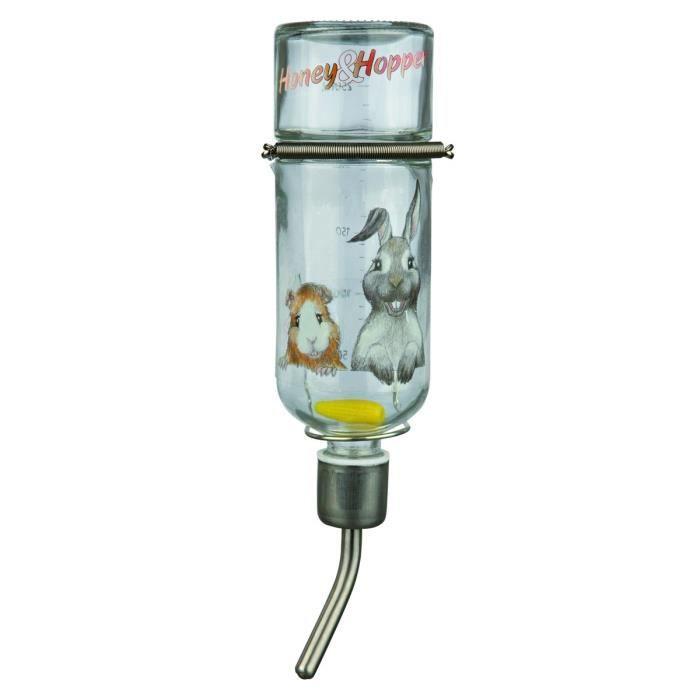 TRIXIE Honey & Hopper biberon verre 250 ml pour rongeurs
