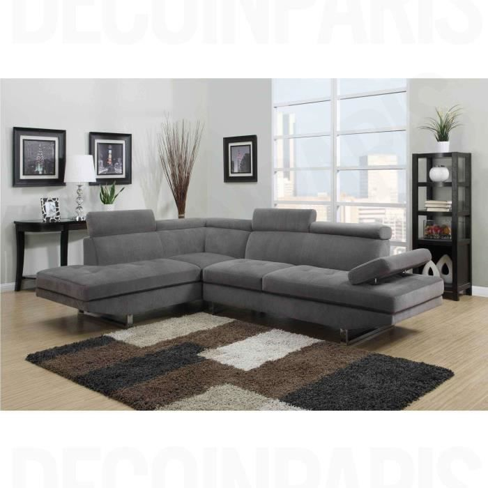 canap d 39 angle design tissu rubic gris gauche achat vente canap sofa divan cdiscount. Black Bedroom Furniture Sets. Home Design Ideas