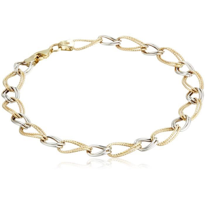 Craze 10k Yellow And White Gold Double Oval Link Bracelet, 7.75 Q5MXE