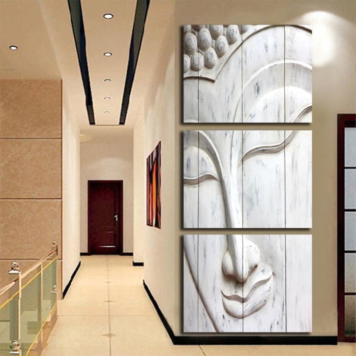Blanc Bouddha Tête Mur Art Toile Peinture Image Couloir