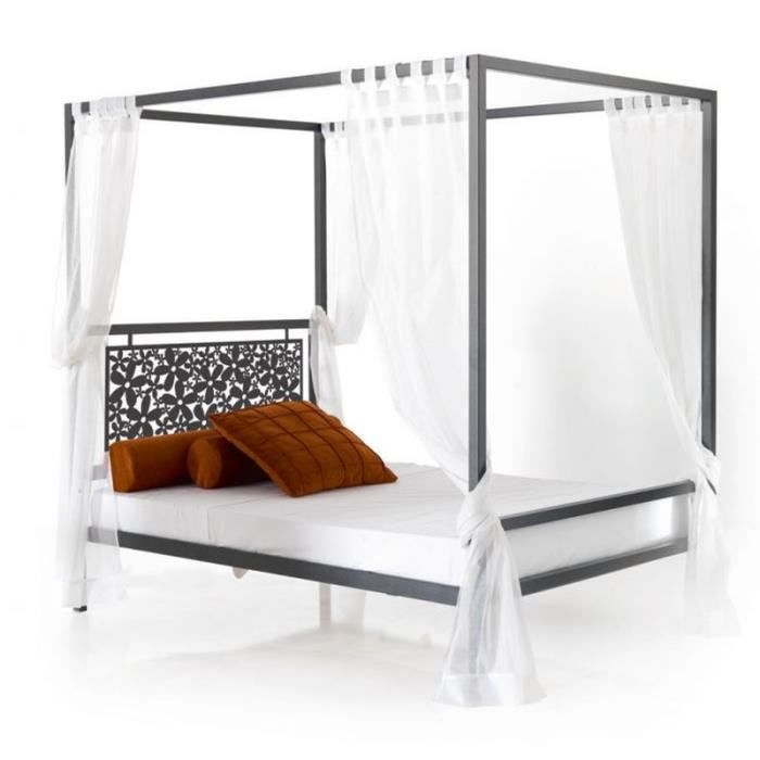 lit baldaquin en fer forg mod le fleurs achat vente structure de lit cdiscount. Black Bedroom Furniture Sets. Home Design Ideas