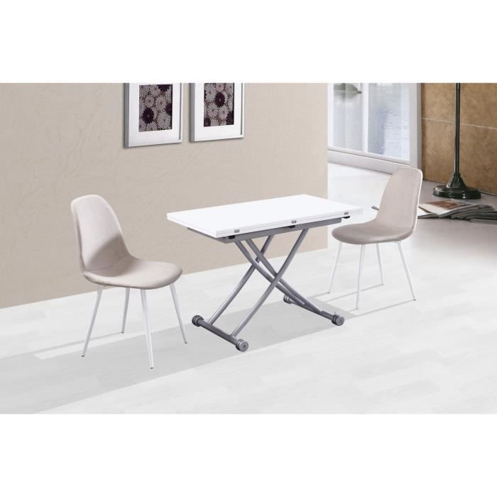 Table basse relevable mirage laqu blanc achat vente for Table relevable blanc laque