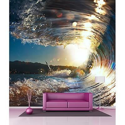 papier peint g ant d coration murale vagues r f 4521 dimensions 160x160cm achat vente. Black Bedroom Furniture Sets. Home Design Ideas