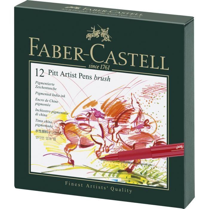 MARQUEUR FABER-CASTELL 12 Feutres Pitt Artist Pen