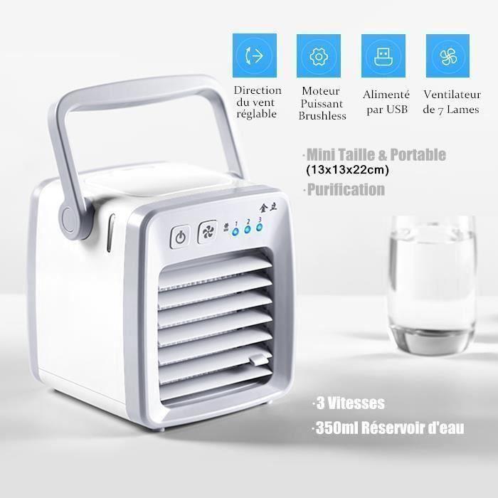 CLIMATISEUR FIXE Mini Portable USB Ventilateur Climatiseur Mobile H