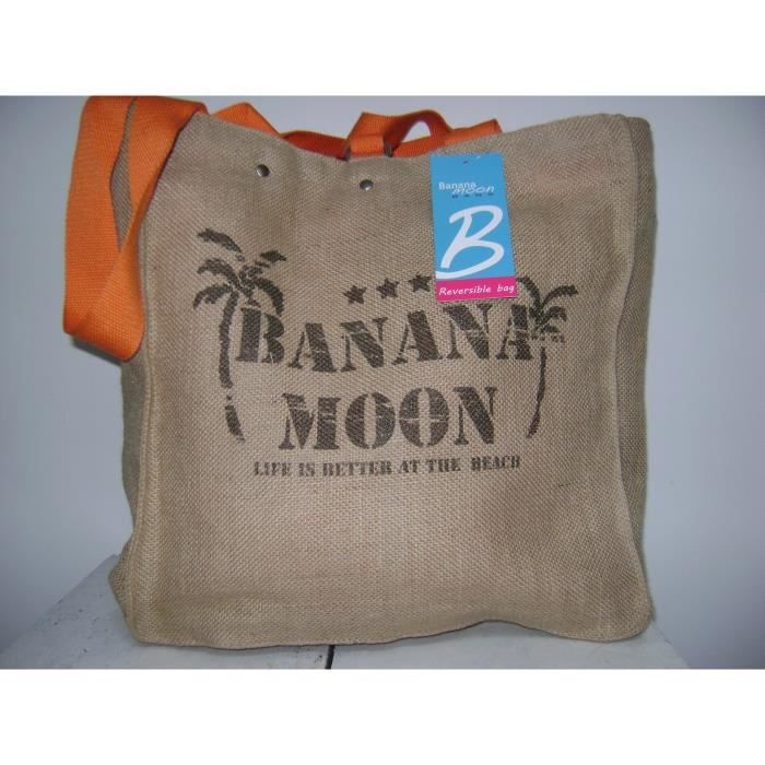 sac cabas banana moon toile de jute reversible orange achat vente panier sac de plage. Black Bedroom Furniture Sets. Home Design Ideas