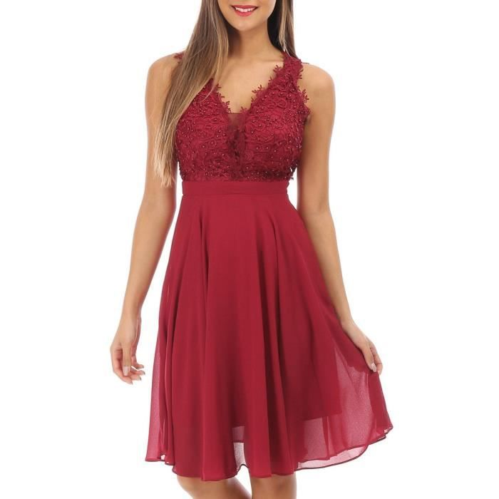 Robe Bordeaux Patineuse Avec Broderie Et Perles Rouge Achat Vente Robe Cdiscount