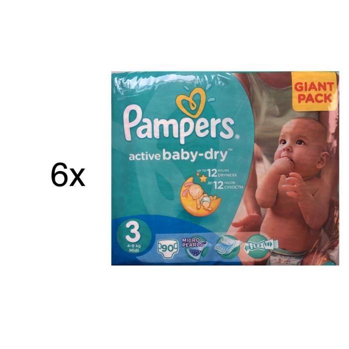 540 couches pampers active baby dry taille 3 achat vente couche 2009933794466 cdiscount - Couche pampers baby dry taille 3 ...