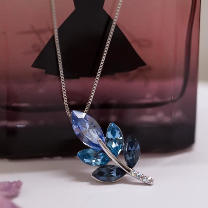 Womens Sivery Valentine Day Gifts Leaf Necklace With Blue Swarovski Crystals, Jewelry For Gifts Fo INZAX
