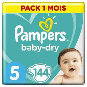 COUCHE PAMPERS Baby Dry Taille 5 - 11 à 16kg - 144 couche