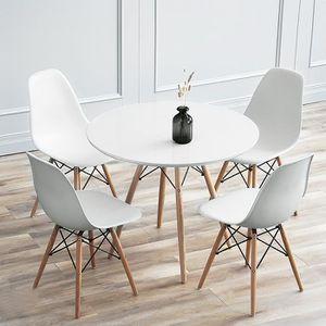 TABLE À MANGER SEULE Table de Salle à Manger - Blanc - Cuisses d'orme -