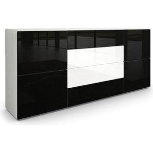 BUFFET - BAHUT  Buffet dressoir Rova en Blanc mat - Noir haute bri