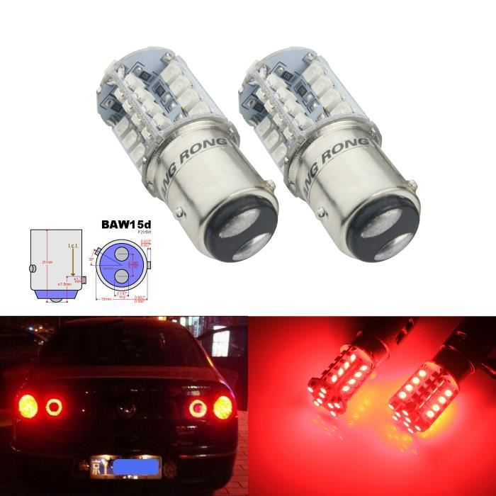 2x BAW15d PR21/5W LED Ampoules 40 SMD Rouge Clignotant Voyant Frein Lampe 21/5W