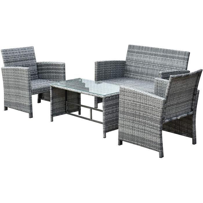 Ensemble Salon de Jardin 4 Places : canapé, 2 fauteuils et Table Basse Plateau Verre trempé résine tressée Imitation rotin Gris[93]