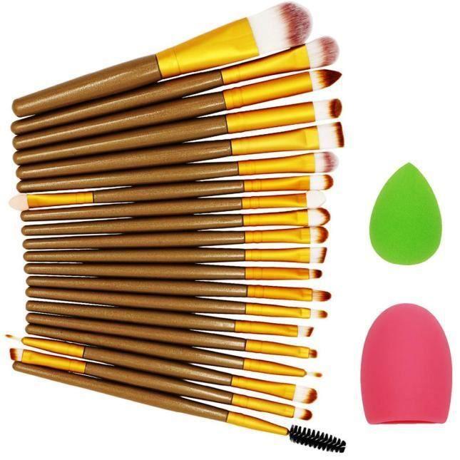 【Accessoires de nettoyage】22pcs pinceau de maquillage éponge de maquillage pinceau de maquillage nettoyant fond de teint