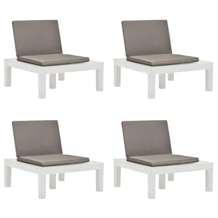 Chaises de salon de jardin et coussins 4 pcs Plastique Blanc -ABI -RUR