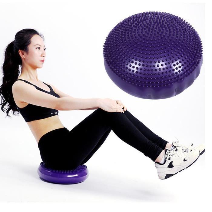 Coussin d'équilibre de yoga doux Yoga Balance Board Disc Gym Stabilité Coussin d'air Massage Pad sans pompe de gonflage Pourpre-SPR