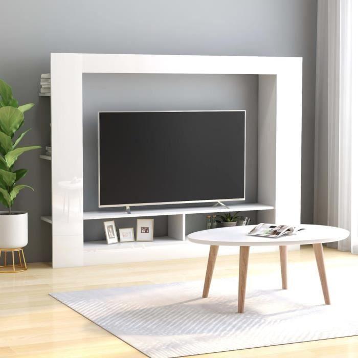 Meuble TV Blanc brillant 152x22x113 cm Aggloméré-GAR