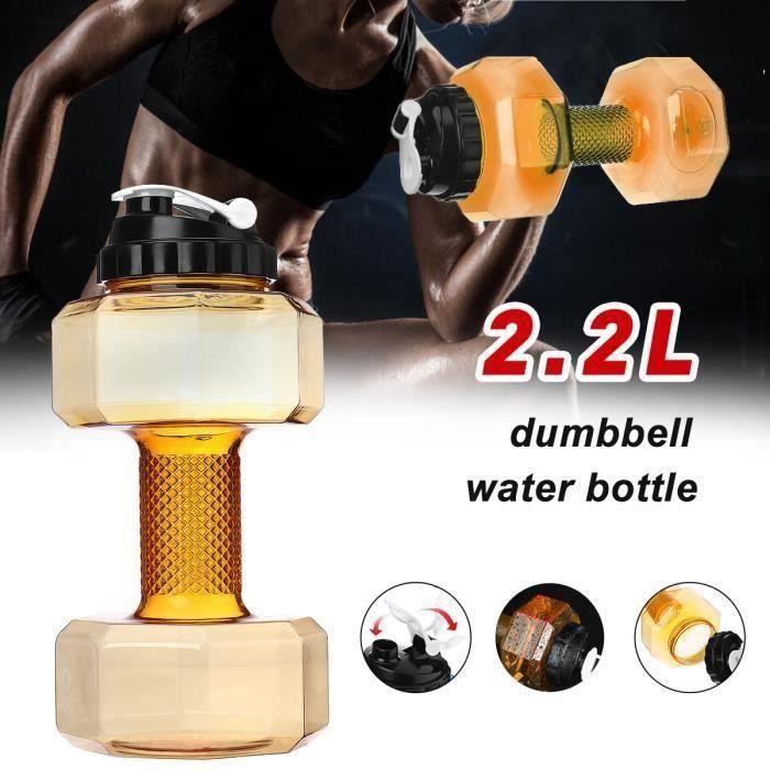 Haltères Bouteille d'eau Plastique Forme d'haltère Transparent Bouilloire 2.2L jaune