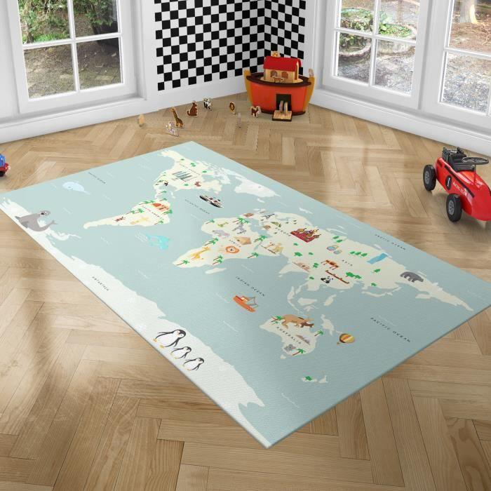 PLAYGROUND Tapis de Jeux pour Enfants - Tapis de Chambre - Monde - 100x150 cm