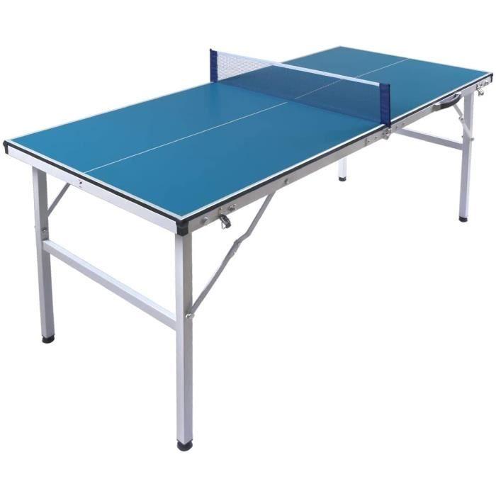 hj Table de Tennis de Table Pliable 150x66x69cm Anti-Rayures Mini Portable Ping-Pong[8]