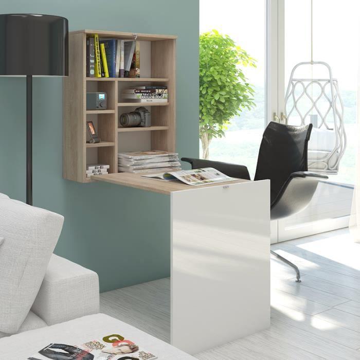 Bureau escamotable / Bureau rabattable - FUNCTION - 60 cm - effet chêne / blanc brillant - 7 niches ouverts - design moderne
