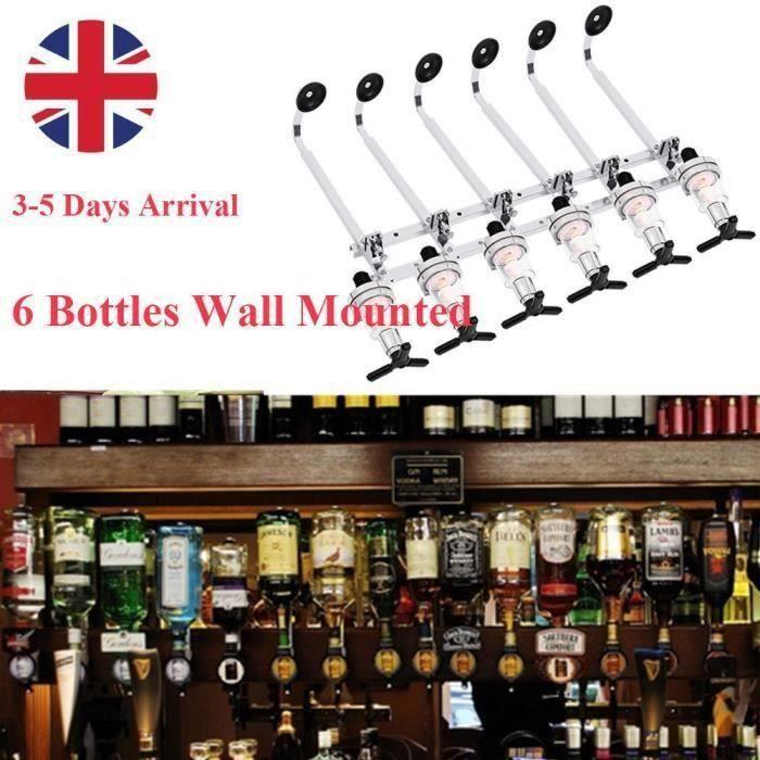Porte-Bouteille Distributeur de Boisson Alcool Vin Mural Bar Pro Acier Pour 6 Bouteilles