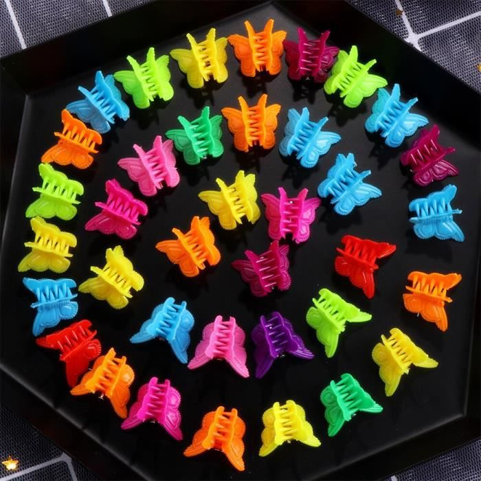 20 pièces pinces à cheveux papillon Barrettes à griffes couleur mixte Mini pinces mâchoire épingle à cheveux c TS5374