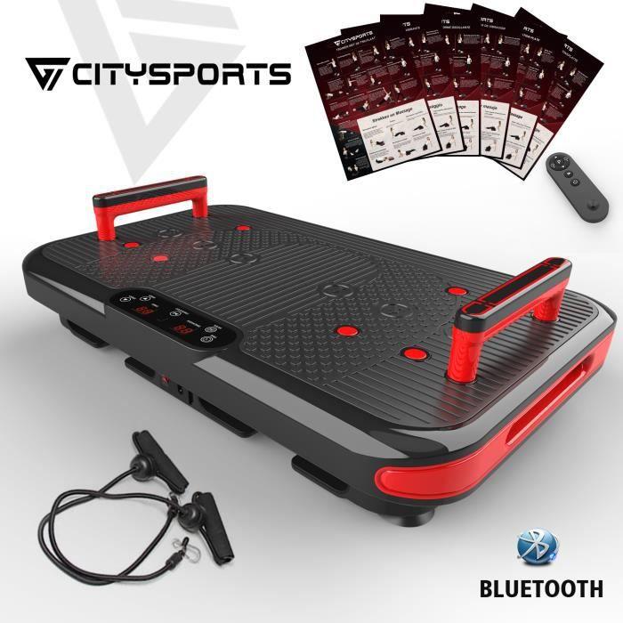 CITYSPORTS Plateforme Vibrante Bluetooth, 50 Vitesses Réglables+2 Poignées Intégrées, 3 Modes Vibration avec Guide Professionelle