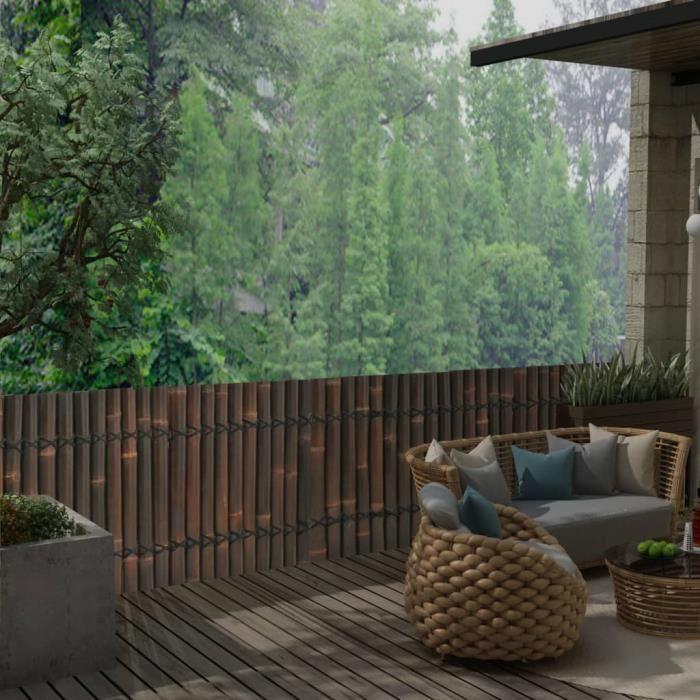 ♫4544 Panneau de jardin Classique - Clôture de jardin Brise vue Bambou 170x75 cm - Marron foncé MMCZ®