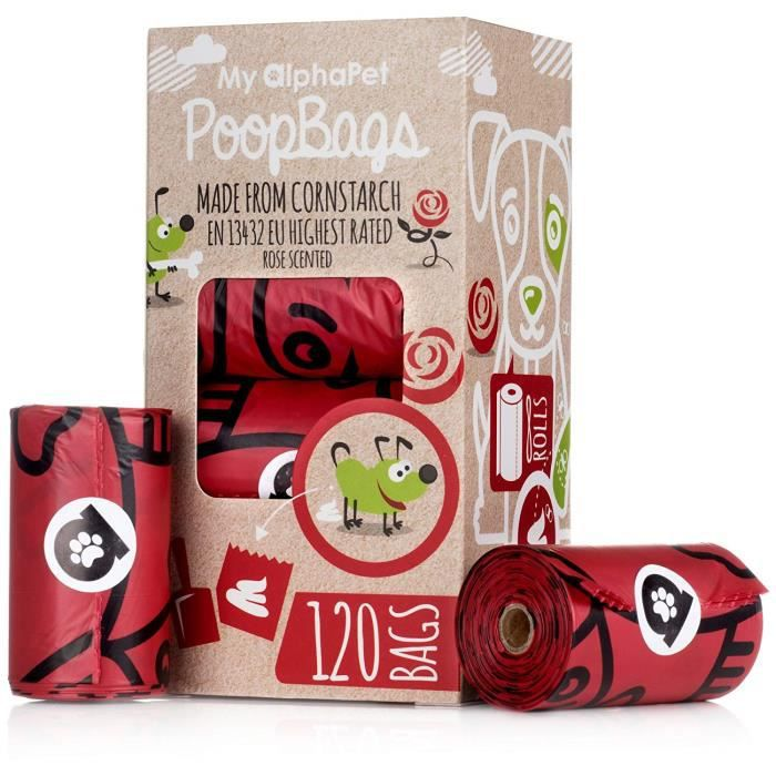 My AlphaPet sacs compostables pour déjections canines - fécule de maïs respectueuse de l'environnement – Répondant aux normes EN