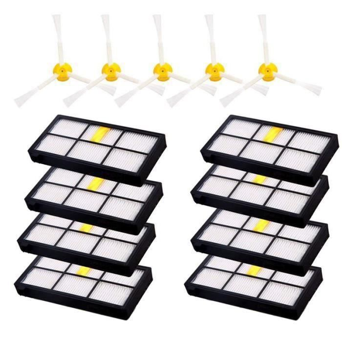 ss-33-Pour Irobot Roomba 880 980 860 960, 10 Pieces Filtres Hepa Roomba Et 5 Pieces Brosses Laterales Roomba Accessoires