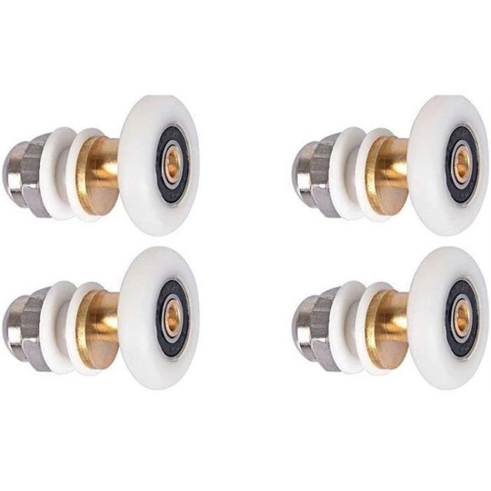 Lot de 4 roulettes rouleau pour porte de douche cabine rouleau pour salle de bain, 23mm de diametre