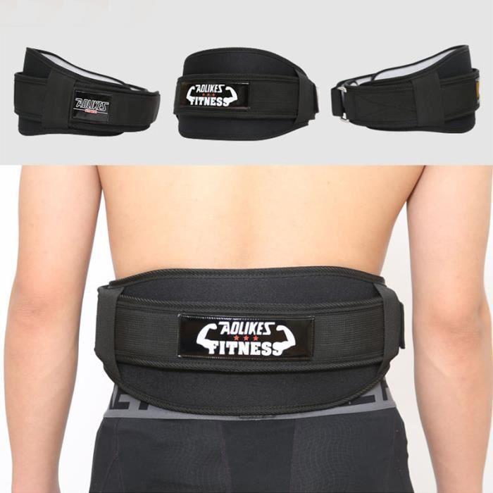 Ceinture de Force Musculation Fitness Ceinture Bodybuilding Haltérophilie Entraînement Squats Support lombaire Sanda Noir L