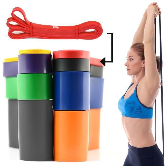 CKB LTD® 1x Fitness 12-30lb Resistance 1.3 cm ROUGE Bande De Résistance Bande Elastique Pour Yoga Pilate Musculation Gymnastique
