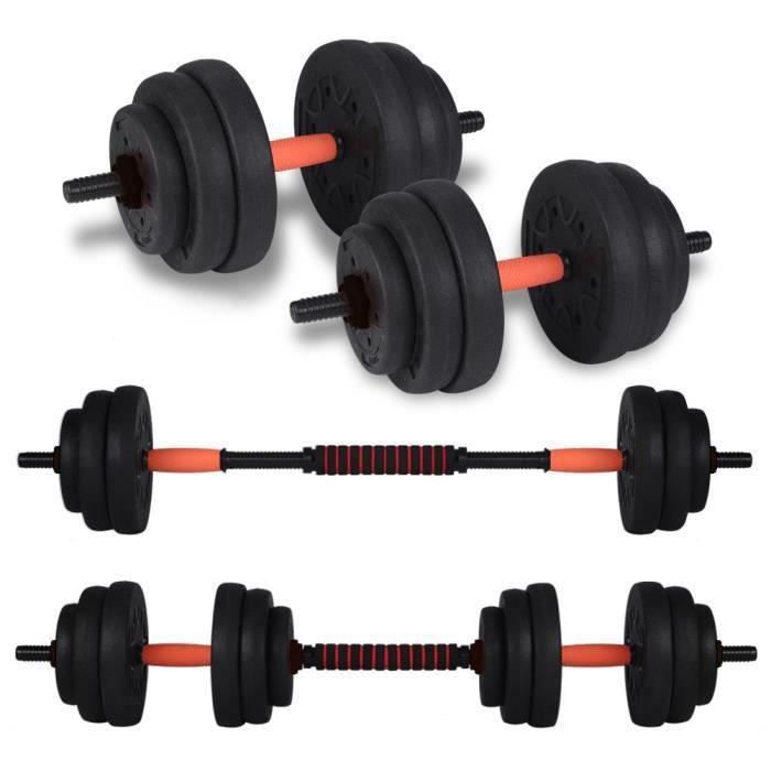 Barre de Musculation avec Poids 20 kg , Barre d'Haltères, Barre à Disques HB020