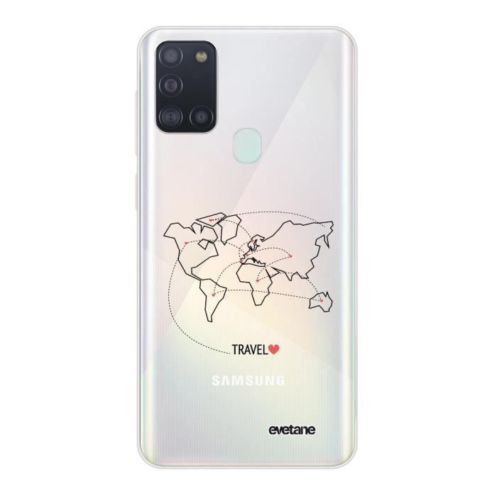 Coque Samsung Galaxy A21S 360 intégrale transparente Travel Ecriture Tendance Design Evetane.