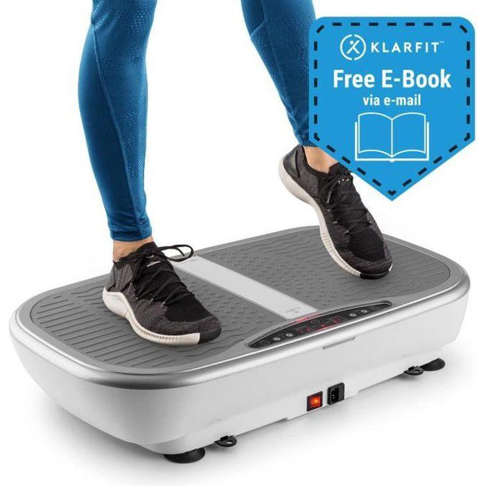 Klarfit Vibe 3DX Pro Plaque Vibrante & oscillante - 4 programmes d´entraînement fitness & mode 3D - télécommande - 2x 200W - blanc