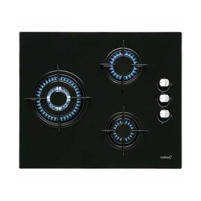 Plaques de cuisson Joli plaque au gaz cata ci6021bk (60 cm) noir (3 feux a gaz)