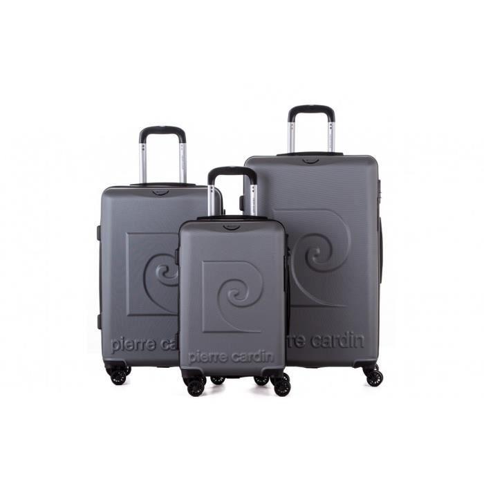 PIERRE CARDIN Set de 3 valises : 1 valise cabine 55 cm et 2 valises grandes tailles 65 et 75 cm, Gris Foncé