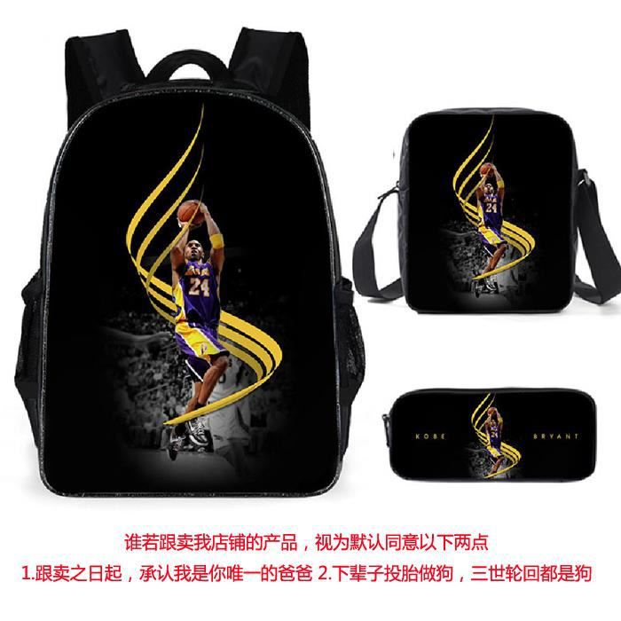 3pcs/set Kobe Sac à dos étoile de NBA basketball cartables adolescents sac à dos A17