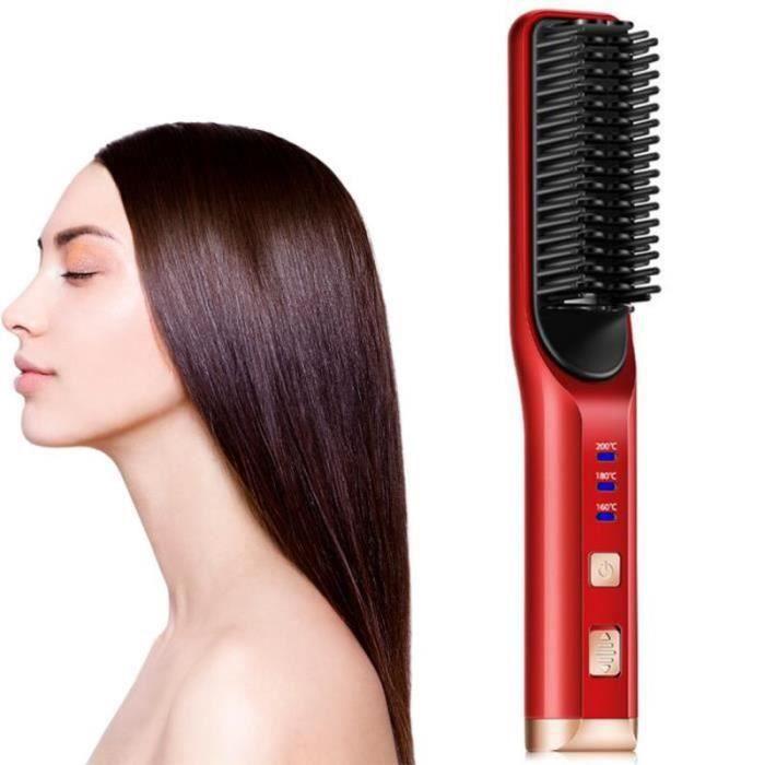 GR19566-Brosse Lissante Chauffante - Brosse de Chauffage électrique, Peigne à Cheveux de la Température Réglable,Anti-échaudag